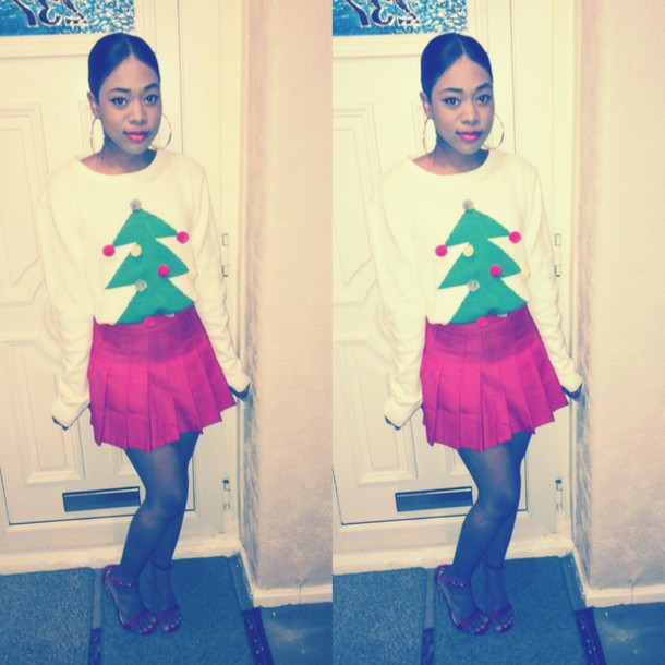 skirt american apparel christmas sweater