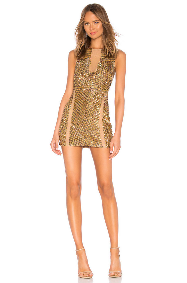 X by NBD Matilda Embellished Mini Dress in gold / metallic