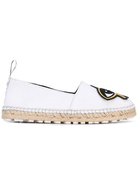 Kenzo women espadrilles leather white shoes