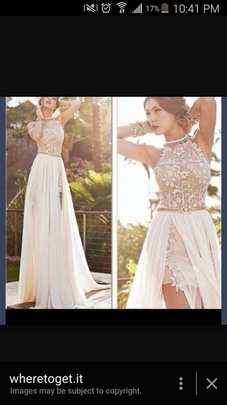 dress lace beige dress