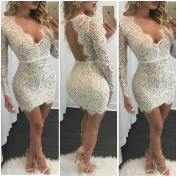 angelica white lace backless cocktail dress