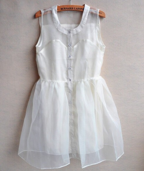 dress summer tumblr summer dress white dress white sheer button buttons button down sun dress beach floaty dress