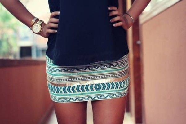Zara aztec cream aqua gold sequin beaded embroidered skirt bloggers fave size s