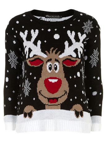 Blk christmas reindeer jumper - Dorothy Perkins
