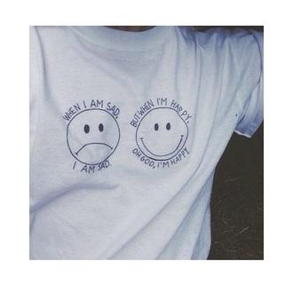 t-shirt white t-shirt happy sad smiley