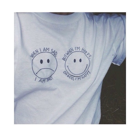 smiley face t-shirt white t-shirt happy sad