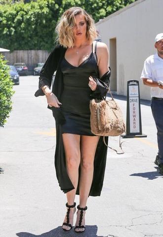 dress sandals mini dress all black everything khloe kardashian kardashians