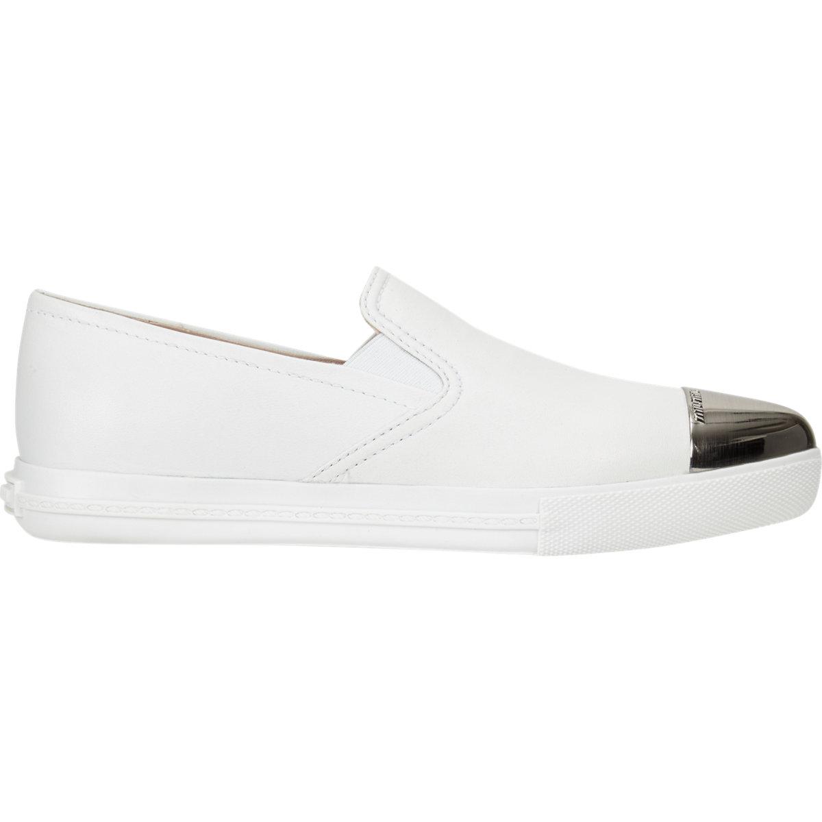 Miu Miu Metal Captoe Slip-on Sneakers at Barneys.com