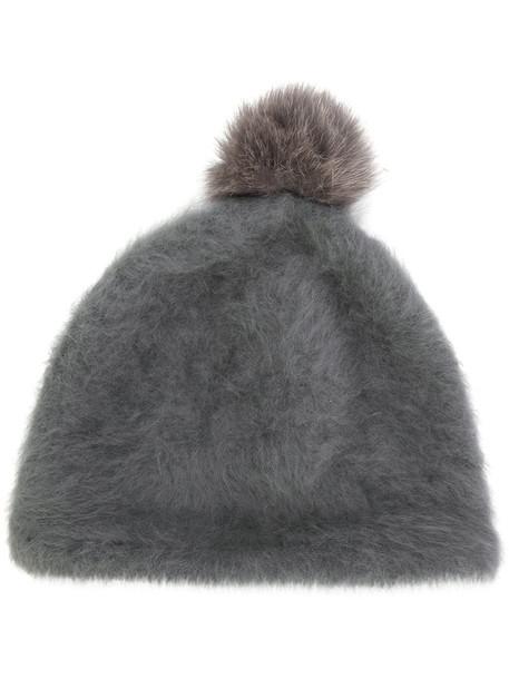 fur fox women beanie pom pom beanie wool grey hat