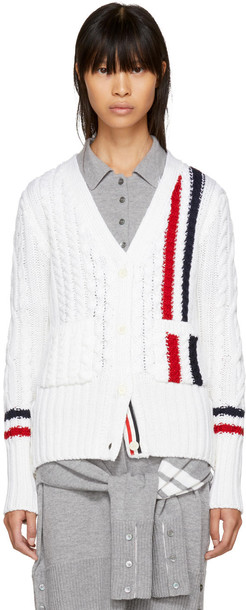Thom Browne cardigan cardigan stripes white sweater