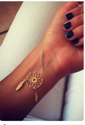jewels,gold,bracelets,jewelry,gold jewelry,gold bracelet,dreamcatcher,dreamcatcher bracelet,boho,boho jewelry