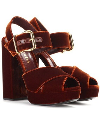 sandals platform sandals velvet brown shoes
