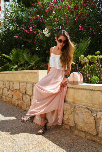 dress boho dress maxi dress skirt maxi skirt white tank top pink skirt