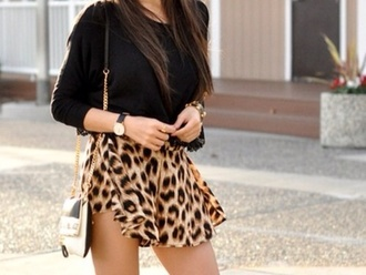 shorts skirt leopard print cute pretty blouse black shirt fashion