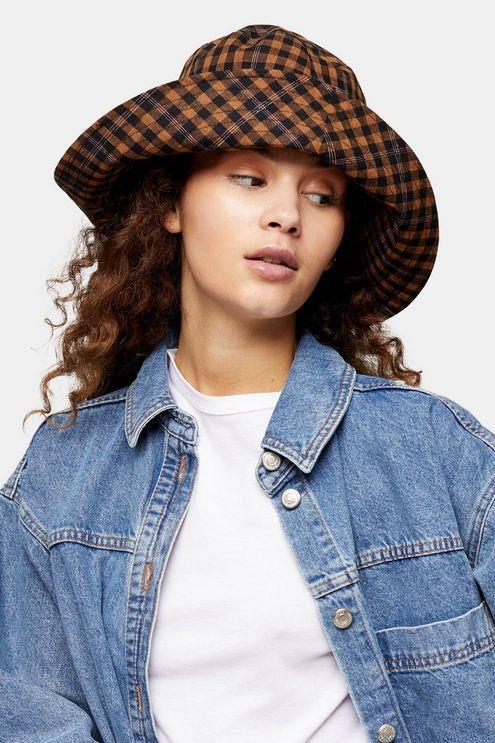 Brown Mini Check Wide Bucket Hat - Brown