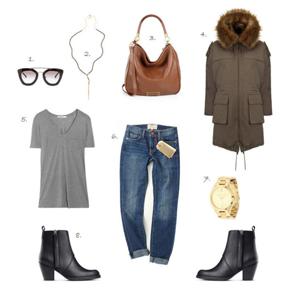styling my life blogger outfit black boots grey t-shirt sunglasses jewels bag coat t-shirt jeans shoes