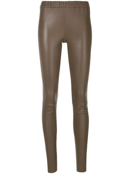 Max & Moi leggings women spandex fit cotton brown pants
