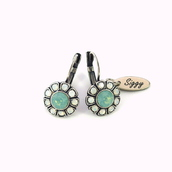 jewels,swarovski,daisyearrings,swarovski earrings,drop earrings,opal earrings,opal,flower earrings,trendy,siggy,daisy,lever back earrings,gift ideas,gifts for her,mint,sea foam green,siggy jewelry,mariana inspired