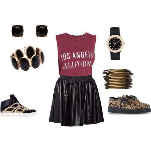 burgundy raspberry leather skirt skirt jewels los angeles california