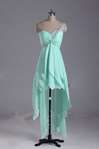 dress high low homecoming dress one shoulder prom dresses mint graduation dress chiffon homecoming dress