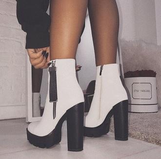 shoes booties white black zip heel boots