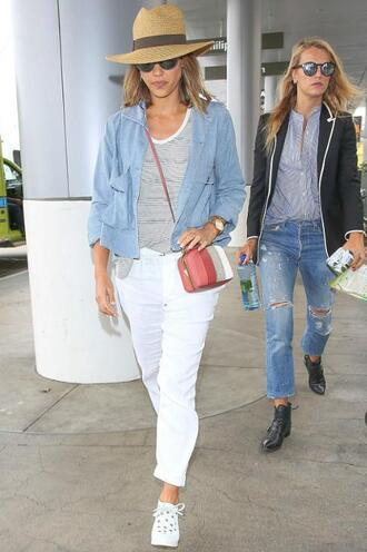 pants top jessica alba jacket sneakers