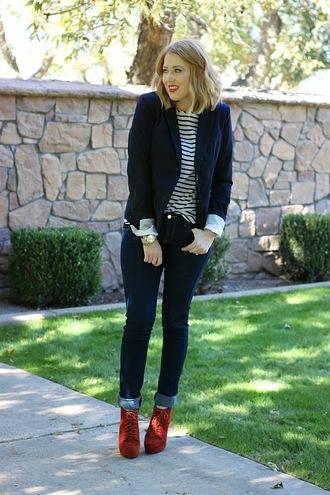 fashion flirtation blogger blouse jacket jewels stripes red shoes