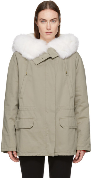Army By Yves Salomon parka short fur classic grey coat