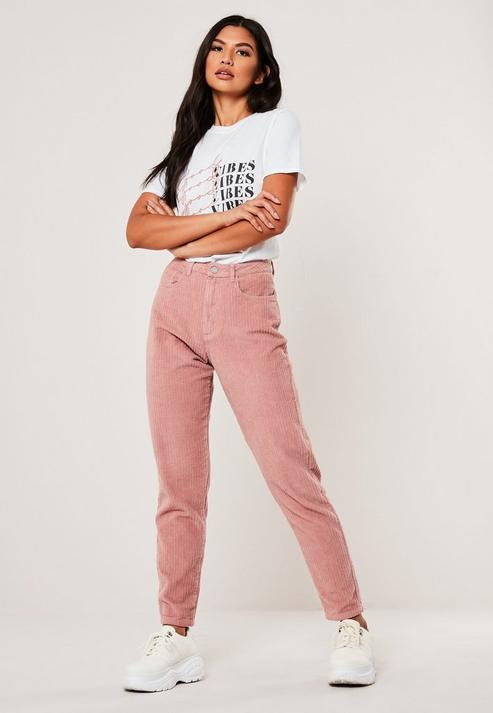 Blush Co Ord High Rise Jumbo Cord Mom Jeans