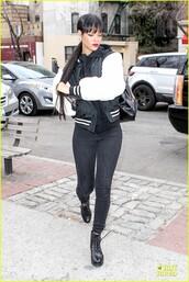 jacket,rihanna,pants,leggings,jeggings,boots,black boots,bomber jacket,black bag,top