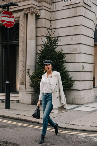hat jacket jeans shoes the chriselle factor blogger ankle boots winter outfits fisherman cap