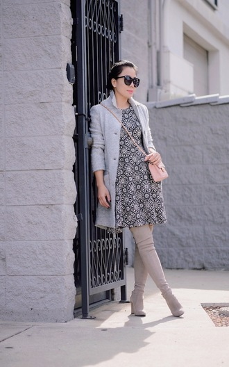 hallie daily blogger suede boots printed dress grey coat