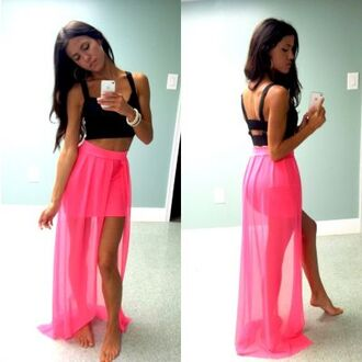 skirt pink skirt hot pink high low skirt cute outfit shirt chiffon skirt