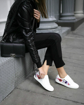 memorandum,blogger,jacket,shoes,sunglasses,bag,jewels,leather jacket,sneakers,chanel bag,black pants,rose embroidered,pants,low top sneakers,tumblr,black leather jacket,white sneakers,black bag