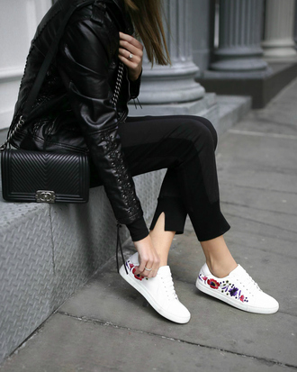 memorandum blogger jacket shoes sunglasses bag jewels leather jacket sneakers chanel bag black pants rose embroidered pants low top sneakers tumblr black leather jacket white sneakers black bag