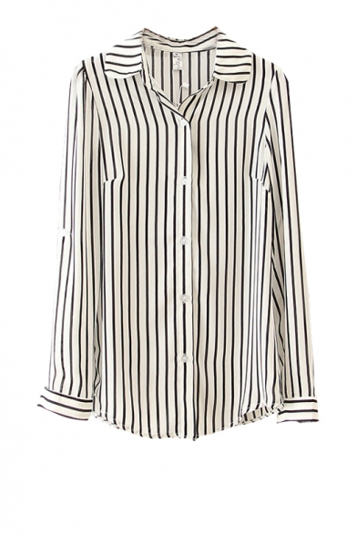 Vertical stripe print long sleeve shirt with buttons