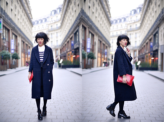 le dressing de leeloo blogger top shoes stripes long coat coat navy coat