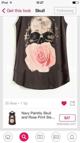 skull grunge rock rose gray