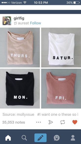 shirt monday tuesday wednesday thursday friday pink cute casual