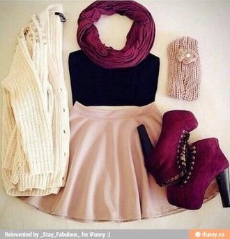 shoes skater skirt infinty scarf cardigan shirt
