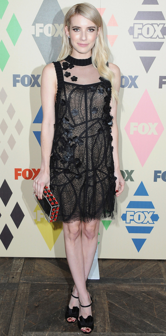 dress lace dress black dress sandals emma roberts