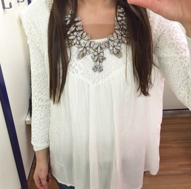 blouse white blouse top white top tank top white tank tops lace top lace top white lace cute top jewels necklace flowers