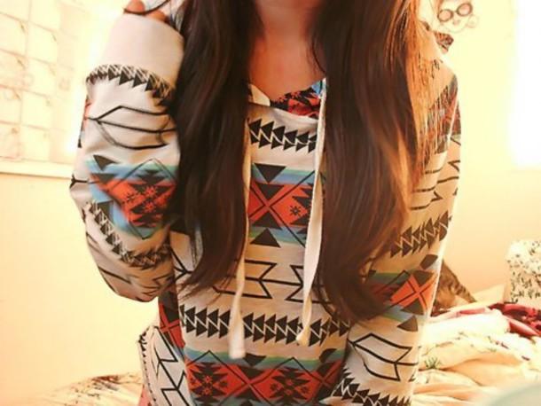 hoodie aztec tribal pattern sweater casual printed sweater