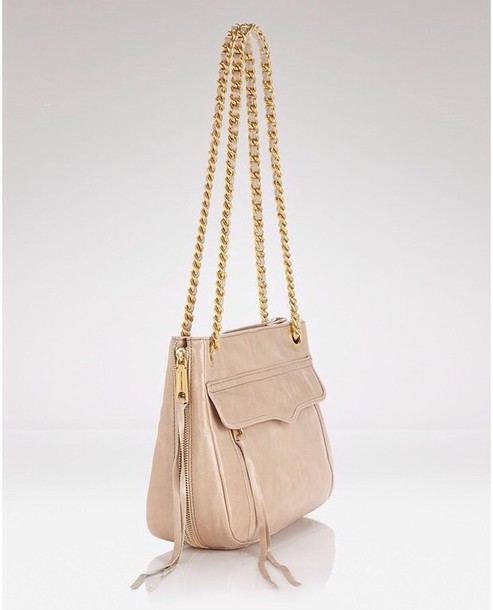 bag beige purse rose gold chain