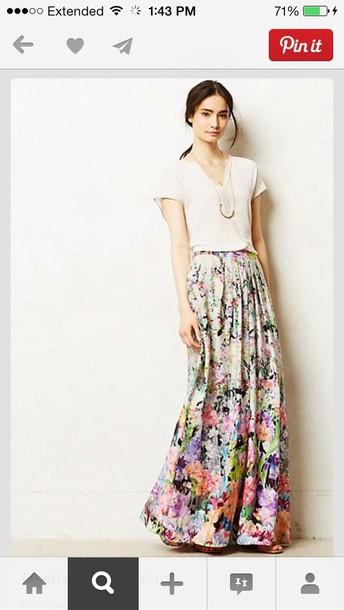skirt maxi skirt flowers summer