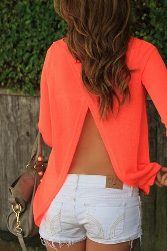 shirt open back split back shirt split back open back shirt coral shirt nyct clothing new york city atlanta california las vegas holidays party ootd women tops blouse summer outfits coral open back blouse sweater river island neon orange backless sweater open back top bag orange pinterest cut-out