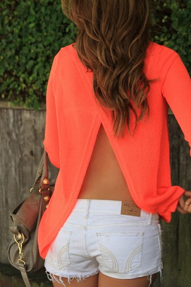 shirt open back split back split back shirt coral shirt blouse