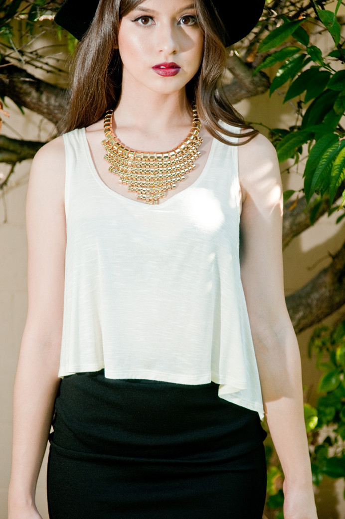 Ivory Slub Tank Crop Top – Gold Soul