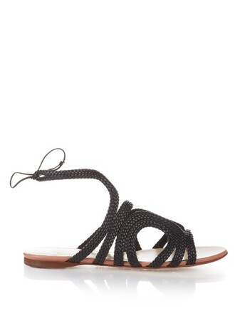 braided sandals flat sandals leather black shoes