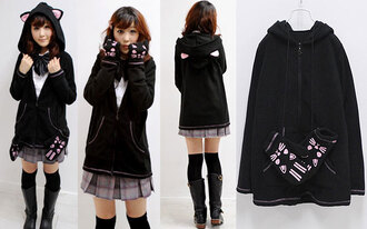 cats ears warm ulzzang meow asian korean fashion harajuku kpop kawaii sweater jacket